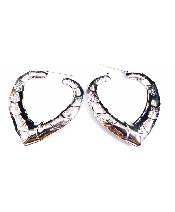 Puffed Heart Hoop Earrings Puffy Bamboo Earrings Gold or Silver Tone Hip Hop Jewelry - CA12CA3Y1SR