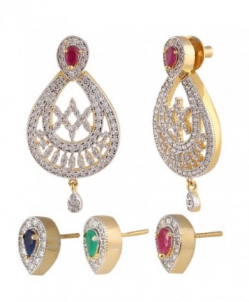 Swasti Jewels Women's American Diamond CZ Zircon Interchangable 3 Colour Stud Ethnic Earrings - Red - CK12BT67OBD