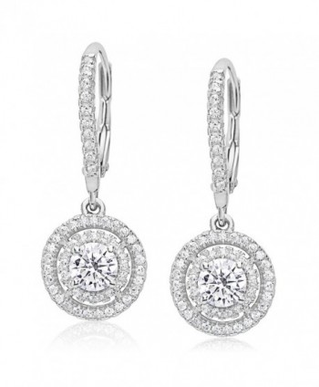 Evan Jewels- EV7-7007- Sterling Silver Cubic Zirconia Round Dangling Earrings - Silver - C612O7O1W9H