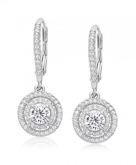 Evan Jewels- EV7-7007- Sterling Silver Cubic Zirconia Round Dangling Earrings - Silver - C612O7O1W9H