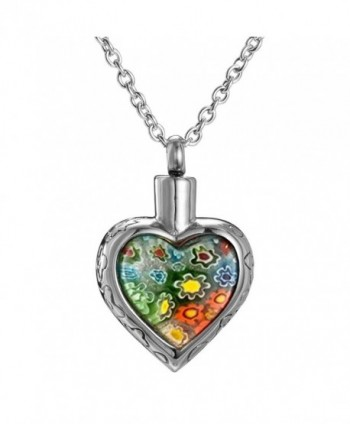 Cremation Jewelry Multi-color Flower Urn Necklace Keepsake Pendant Memorial - Silver - C0122H4T4PF