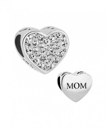 Charmed Craft Heart Charms Love Mother Mom Charms Birthday Crystal Charms Beads for Bracelets - White - CQ12O0PFP96