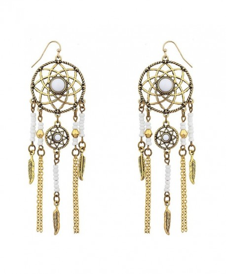 Lux Accessories White Navajo dream catcher dangle earrings - CR12GFDT37D
