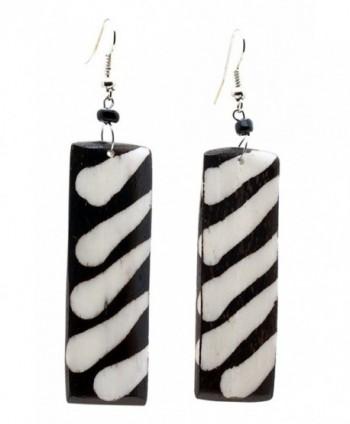 Maisha Fair Trade Long Rectangle Light Wieght Batiked Zebra Print Earring - C511DHEVFAV