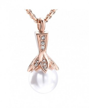 Crystal Flower Hold up a Big Pearl -Stainless Steel Keepsake Jewelry Cremation Necklace for Ashes - Rose Gold - C61898S6O45