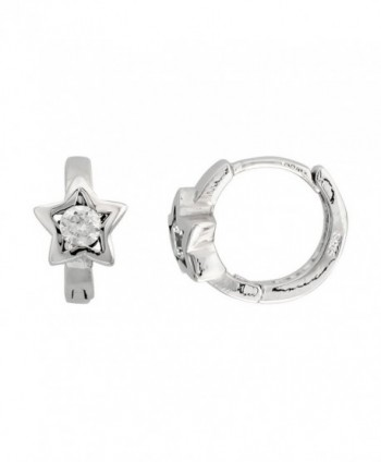 Sterling Silver Cubic Zirconia Star Huggie Hoop Earrings- 9/16 inch round - CY113R1W8CT