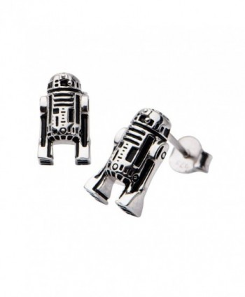Disney Women's 925 Sterling Silver Star Wars R2D2 Stud Earrings - CW12F8NZOH9