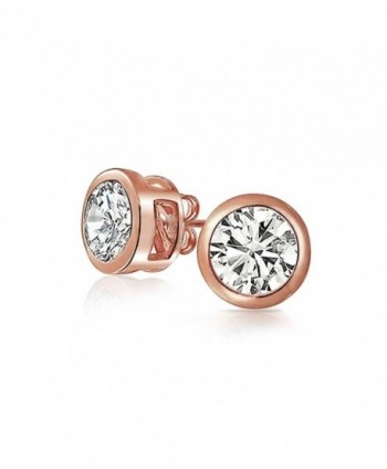 Bling Jewelry Bezel Set Round CZ Stud earrings Rose Gold Plated 7mm - C411EWLMAX9