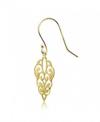 Flashed Sterling Polished Filigree Earrings in Women's Drop & Dangle Earrings