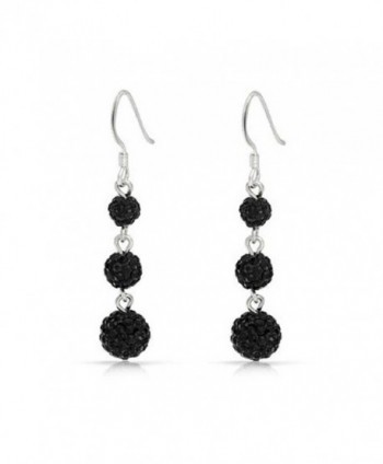 Bling Jewelry Black Crystal Balls Sterling Silver Dangle Earrings - CQ119VZZY1H