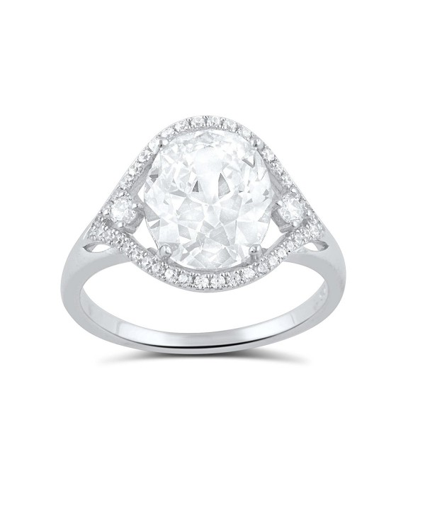Sterling Silver Cz Big Oval Statement Ring (Size 4 - 9) - CW12COYRPDL