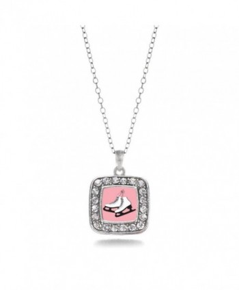 Figure Skating Ice Skates Charm Classic Silver Plated Square Crystal Necklace - CJ11MCHU2C7