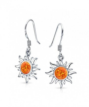 Bling Jewelry .925 Sterling Silver Synthetic Orange Fire Opal Sun Dangle Earrings Rhodium Plated - CI11ZE9YGGX