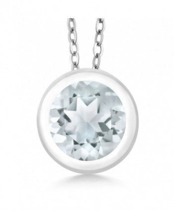 0.75 Ct Round Sky Blue Aquamarine 925 Sterling Silver Pendant With Chain - CP11DIMTQMH