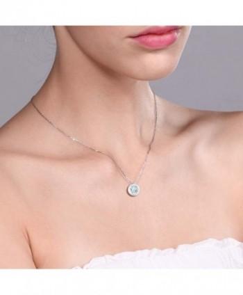 Round Aquamarine Sterling Silver Pendant