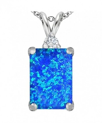 Star K Sterling Silver Large 14x10mm Emerald Cut Pendant - Blue Created Opal - CF110Q999E5