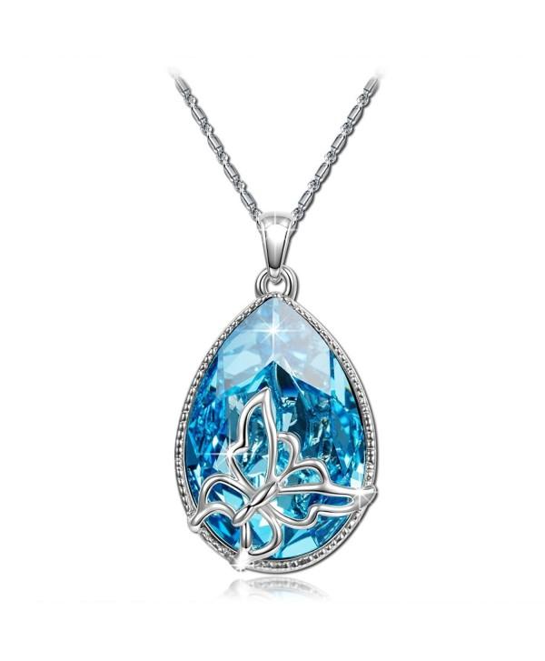 Valentines Necklace Butterfly Teardrop Swarovski - Blue - CZ126NHQER3