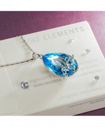 Valentines Necklace Butterfly Teardrop Swarovski