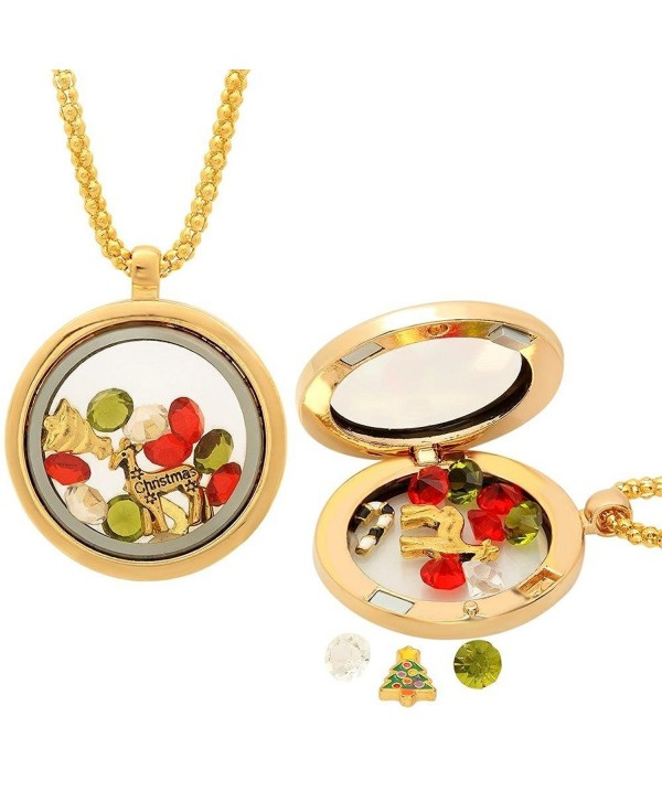 Christmas Collection Multi-Colored Crystals Charm Locket Pendant Necklace - CD11PP8T1DV