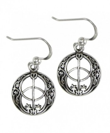 Sterling Silver Chalice Well Dangle Earrings Symbol of the Divine Feminine - CT11KWZG7AV