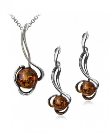 Sterling Silver Amber Ball Stud Earrings and Pendant Set 18 Inches - CU11OQBJGAZ