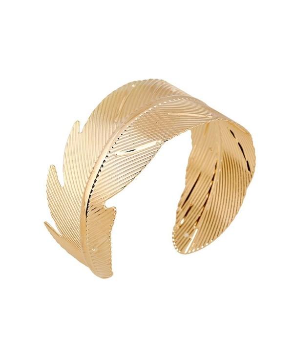 JSEA Gold Leaf Arm Cuff Bracelets Bangle Open End Wide Bangle Bracelet Women Girls - CP12L0KK2ZX