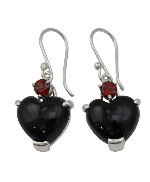 NOVICA Multi-Gem Onyx .925 Sterling Silver Dangle Earrings 'Goth Love' - CY11G3WDRD3