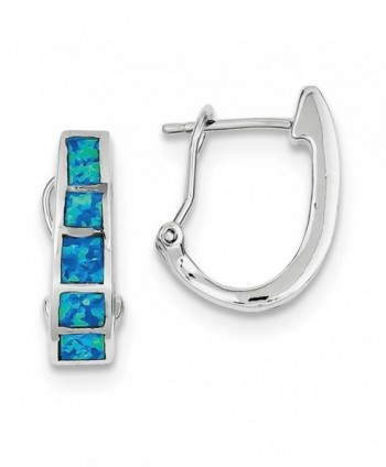 Sterling Silver Rhodium Plated Blue Inlay Synthetic Opal Squares Hoop Earrings (0.7IN x 0.5IN ) - CD11FRSFT2L