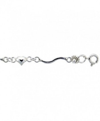 Sterling Silver Anklet with Hearts and Flowers- fits 9 - 10 inch ankles - CC111D6CYC9
