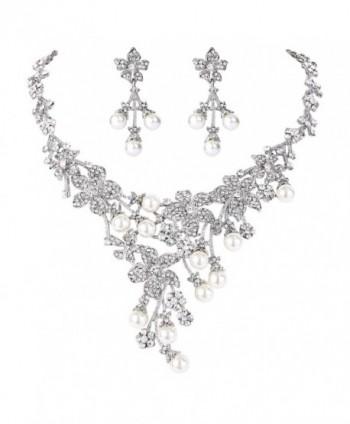 EVER FAITH Wedding Flower Cluster Simulated Pearl Necklace Earrings Set Clear Austrian Crystal - CH11K4KON8D