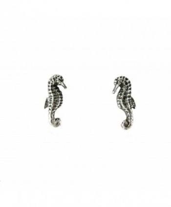 Sterling Silver Seahorse Stud Post Earrings - C911266XKTB
