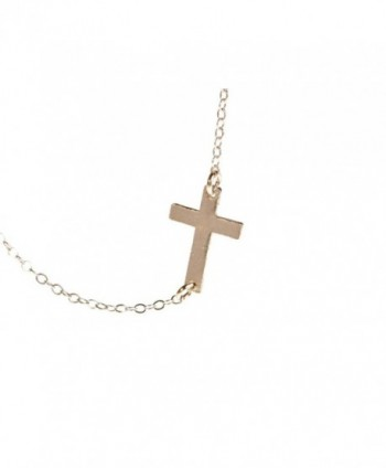 Sideways Cross Necklace - Small Off Center Cross - C8110ZJ7IZN