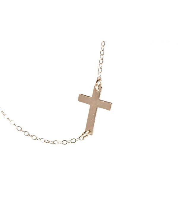 Sideways Cross Necklace - Small Off Center Cross - C8110ZJ7IZN