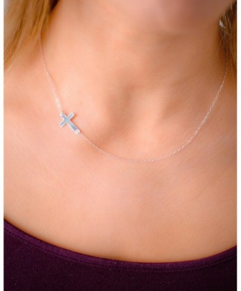 Sideways Cross Necklace Small Center