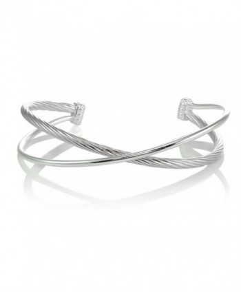 Sterling Silver Polished & Twist Criss Cross Cuff Bangle Bracelet - Sterling Silver - C1185NECK22