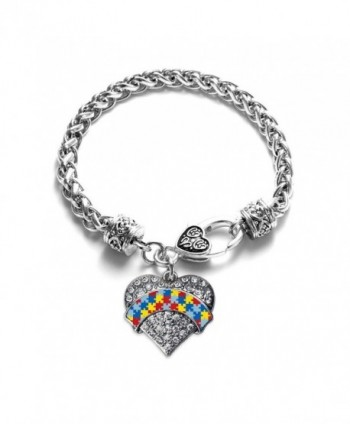Autism Awareness Pave Heart Charm Bracelet Silver Plated Lobster Clasp Clear Crystal Charm - CK123HZKDN5