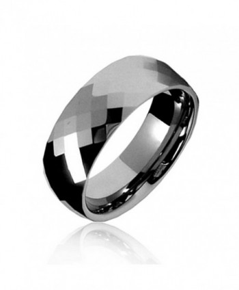 Bling Jewelry Multi faceted Tungsten Wedding Band Ring - C71154KSTQZ