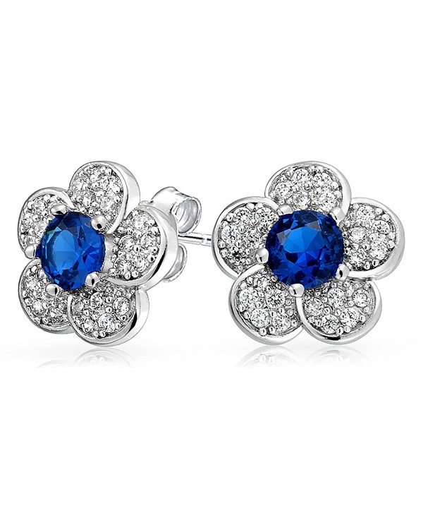 Bling Jewelry Simulated Sapphire September Birthstone Flower CZ Stud earrings Rhodium Plated 12mm - CW11M935TL3