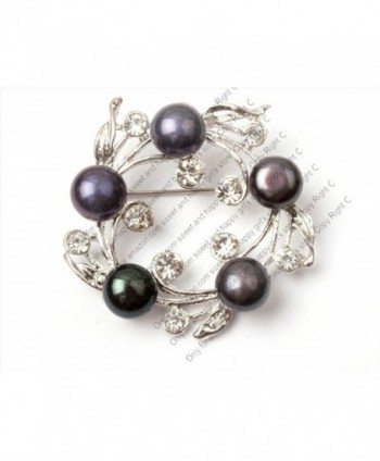 Purple Freshwater Cultured Pearl White Gold Plated Brooch Pin 30x35mm - Black02 - C1118TFJ6ZP