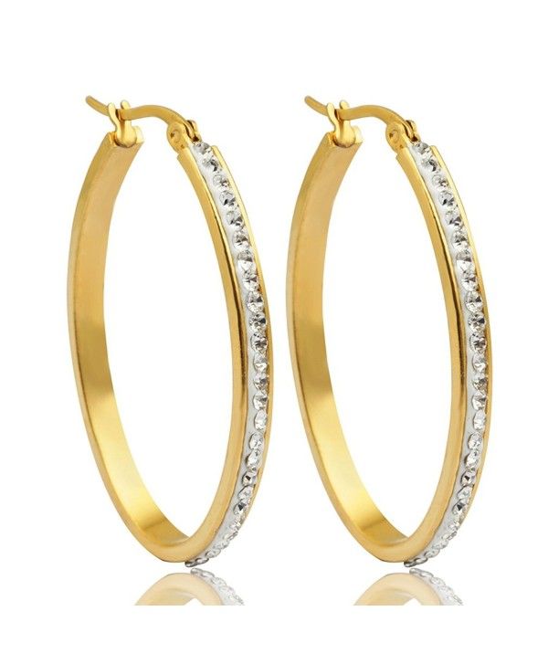 Anni Coco 18K Gold Plated Stainless Steel Clear Crystal Inlay Round Hoop Earrings(40 mm-60 mm) - CO188WIHRQM
