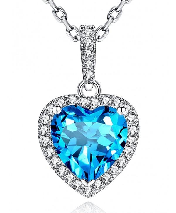 Necklace Birthstone Valentines Girlfriend Anniversary - 012-Birthstone Swiss Blue Natural Topaz - CP187A8SG49