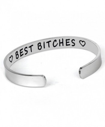Best Friend Gift Friendship Bracelet Stainless Steel Best Bitches Cuff Bracelet - CL189QEYLG9