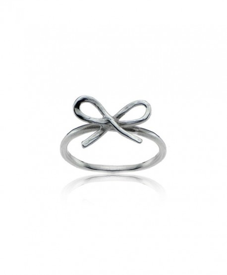 Sterling Silver High Polished Dainty Bow Tie Stackable Midi Ring - CJ188NORLGZ
