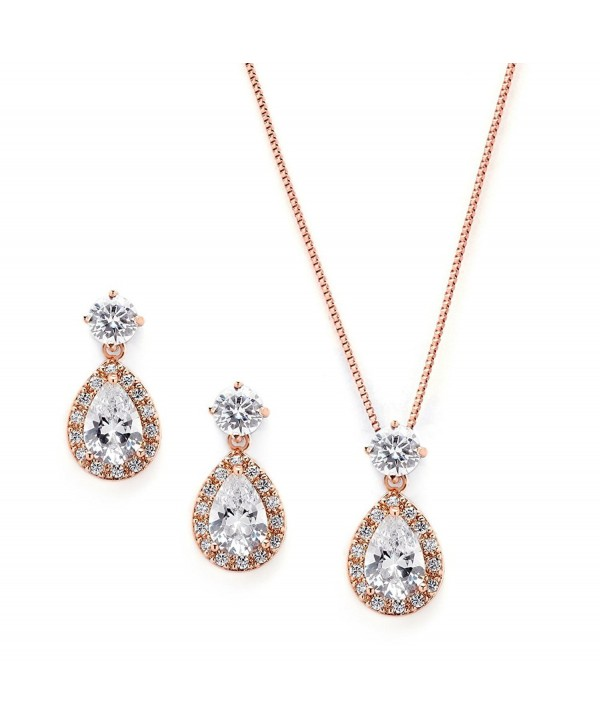 Mariell Rose Gold CZ Pear Shaped Necklace and Earrings Set - Great Wedding Jewelry for Brides & Bridesmaids - CU12JGUEQLZ