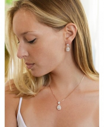 Mariell Rose Shaped Necklace Earrings in Women's Jewelry Sets