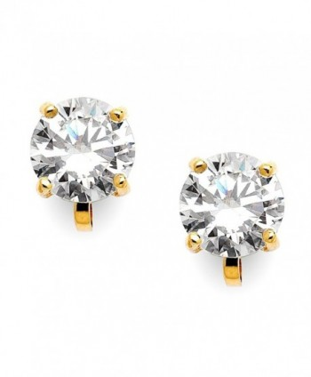 Mariell 14KT Gold-Plated 2 Carat CZ Clip-On Earrings - 8mm Round-Cut Solitaire Cubic Zirconia Studs - CG11X9D7965