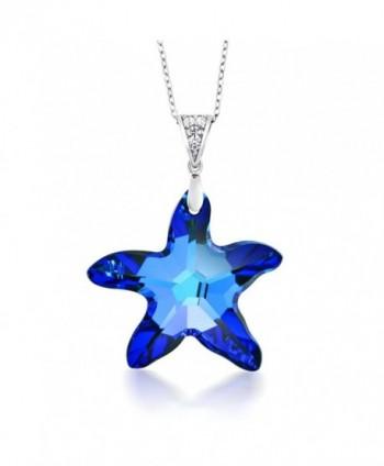 Sterling Silver Berumda Blue Starfish Pendant Created with Swarovski Crystals - CL12F1FLIDX
