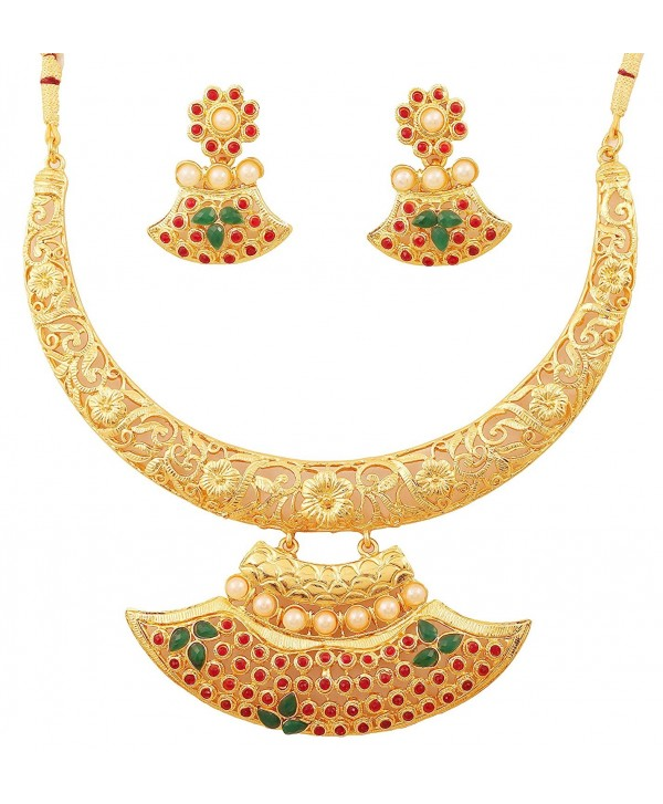 Touchstone Collection traditional bollywood necklace - Multicolor - C012L5AZ32J