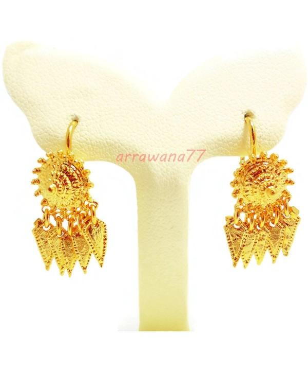 THAI EARRINGS DROP DANGLE 22K 23K 24K THAI BAHT YELLOW GOLD GP E003 - CP11PPRLNPB