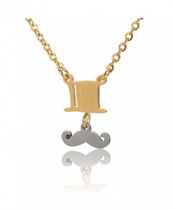 "Huan XUN British Mustache and Top Hat Necklace Link Charm Pendant Charm Jewelry 16"" - CO12C6AVKMJ"